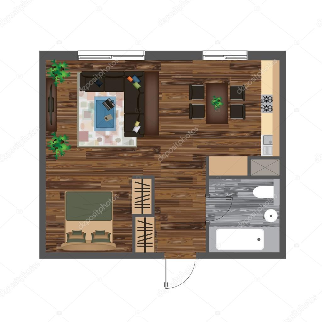 Arkitektoniska färg planritning. studio lägenhet vektor ...