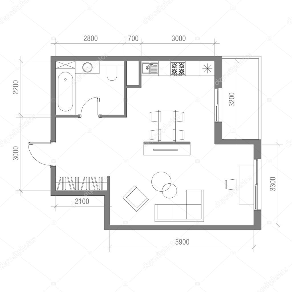 Architectural floor plan with dimensions studio apartment for Planta arquitectonica