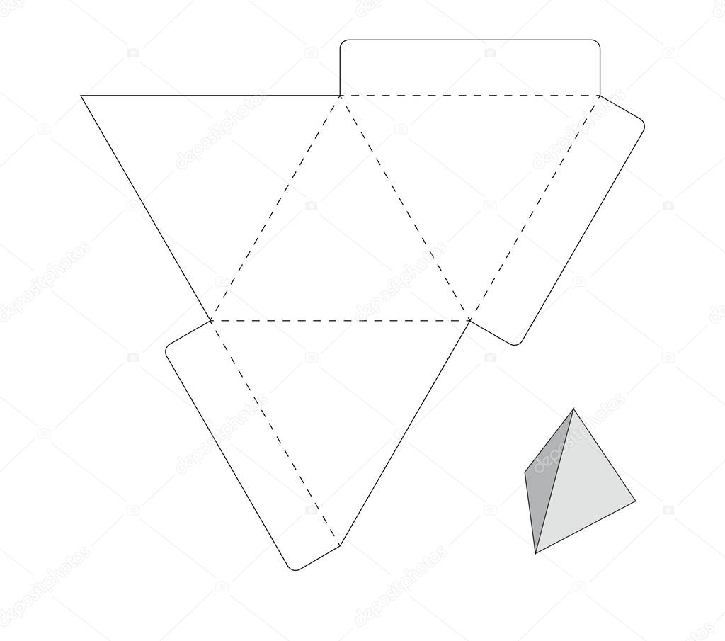 Plantilla caja tri ngulo vector de stock 124184528 for Triangle packaging template