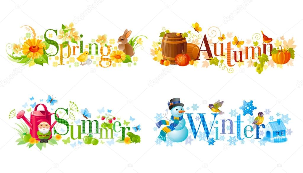 Four seasons calendar set. Spring, Summer, Autumn, Winter text banners ...