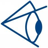 Illustration of the blue eye icon against white background