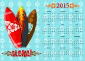American blue Aloha vector calendar 2015 with surf boards starting from Sundays