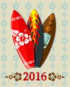 Vector illustration of aloha surf boards with 2016 text