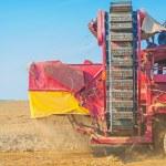 Постер, плакат: Combine harvester in field