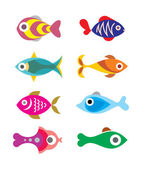 Aquarium Exotic Fishes - set of color vector icons Isolated on white background