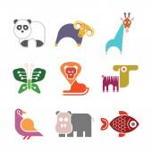Animal icons Set of isolated vector colorful clip art on white background Can be used as logo