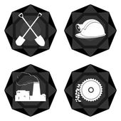 Icons with abstract images of objects and equipment used in the mining industry Illustration on white background
