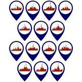 Distintivi con navi da guerra, Corvette e fregate. Illustrazione su fondo bianco