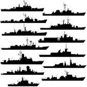 I contorni di navi da guerra, fregate e Corvette. Illustrazione su fondo bianco