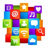 Colorful communication and media symbols