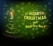 Abstract swirly christmas tree on dark green background