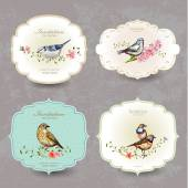 Collection retro label of cute birds watercolor painting