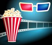 Package with popcorn on the blue background with curving film strip and 3d glasses