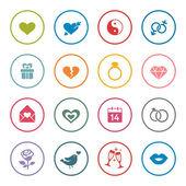 Love theme icon setcolorful vector illustration