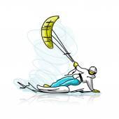 Kite surfer, snowboard, vázlat, a design