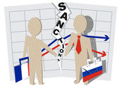 France sanctions against Russia Illustration in vector format
