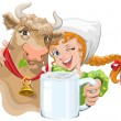 Постер, плакат: Girl hugging a cow and a farmer holding a cup of milk