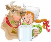 Mädchen umarmt, eine Kuh und ein Landwirt hält eine Tasse Milch