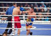KYIV, UKRAINE - DECEMBER 13, 2014: Eldos Sarkulov of Kazakhstan (in red) fights with Mikhail Andriets of Ukraine during Evening of Boxing in the Palace of Sports in Kyiv