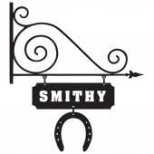 Vintage pointer accommodation blacksmiths set on the street Vector illustration