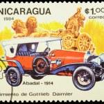 Постер, плакат: Old car Abadal 1914 on postage stamp
