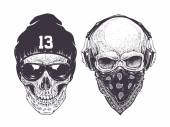 Two dotwork skulls with modern street style attributes Vector art