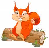 Illustration of cute squirrel sitting on a log