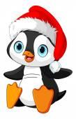 Cartoon illustration of cute baby penguin in santa hat Vector illustration