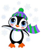 Illustration of cute winter penguin with hat and scarf pointing