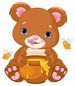 Vector illustration of cute bear preparing to eat honey