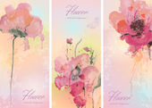Set of three banners with flowers in watercolor technique