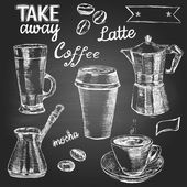 Set of hand drawn coffee cups and items on the blackboard