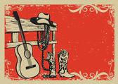 Vintage plakát s kovbojské oblečení a hudba kytara