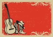 Vintage plakát s kovbojské boty a hudba kytara