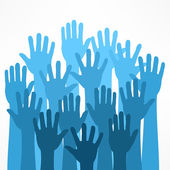 Raised hands on white vector illustration