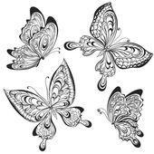 Vektorový soubor černobílých kaligrafické motýlů izolovaných na bílém pozadí. Tetování design