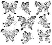 Insieme di vettore delle farfalle calligrafiche bianche e nero isolato su priorità bassa bianca. Disegno del tatuaggio