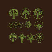 Vector organic tree icons - outline  monograms and logos -ecology and bio design elements