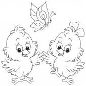 Black and white vector illustration of two little chickens dancing with a butterfly