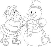 Father Christmas making a funny smiling snowman with a scarf and bucket