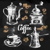 Hand drawn sketch coffee set Vector illustration Chalkboard menu design for cafe and restaurant