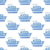Kids seamless vector watercolor pattern with ships boats on white