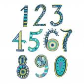 Whimsical hand drawn numbers from one to zero Hand-drawn numbers Vector sketch illustration isolated on white background
