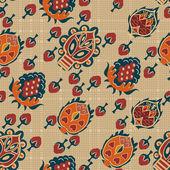 Abstraktní bezešvé etnické textury s tropickými květinami. Vektorové i