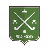 Green badge for the team field hockey on a white background  Vector illustration