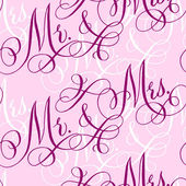 Pink wedding seamless pattern with hand-written traditional words 'Mr and Mrs'
