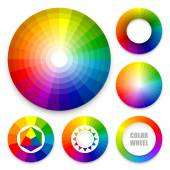 Set of color wheels Color harmony Color theory Multicolored spectral circles Vector illustration