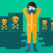 An asian man in protective chemical suit clutching his head while standing in polluted water with radioactive barrel vector flat design illustration Square layout