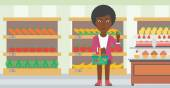 An african-american woman holding a basket full of healthy food and refusing junk food on a supermarket background vector flat design illustration Horizontal layout