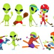 Постер, плакат: Vector set of green aliens sport illustrations